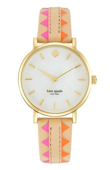 kate spade new york 'metro' geo print leather strap watch