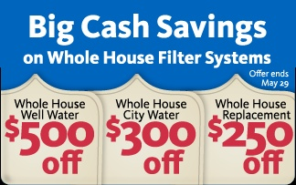 EQ-300 (City Water Whole Home Water Filtration System): $300 off of $1099  Promo Price for the EQ-300 is ($799)    EQ-300-WELL (Well Water Whole Home Water Filtration System): $500 off of $1799  Promo Price for the EQ-300-Well is ($1299)    EQ-300R (City Water Whole Home Water Filtration System Replacement Tank): $250 off of $849.99  Promo Price for the EQ-300R ($599.99)