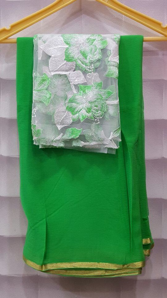 Pure wrinkle chiffon sarees with designer blouses | Buy Online Chiffon Sarees | Elegant Fashion Wear
