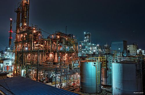 HDR Photo: Factory night view 'Pipe house view'