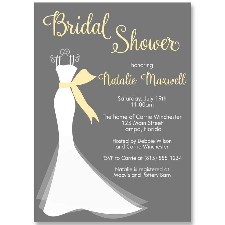 Elegant Gown Yellow Bridal Shower Invitation 22