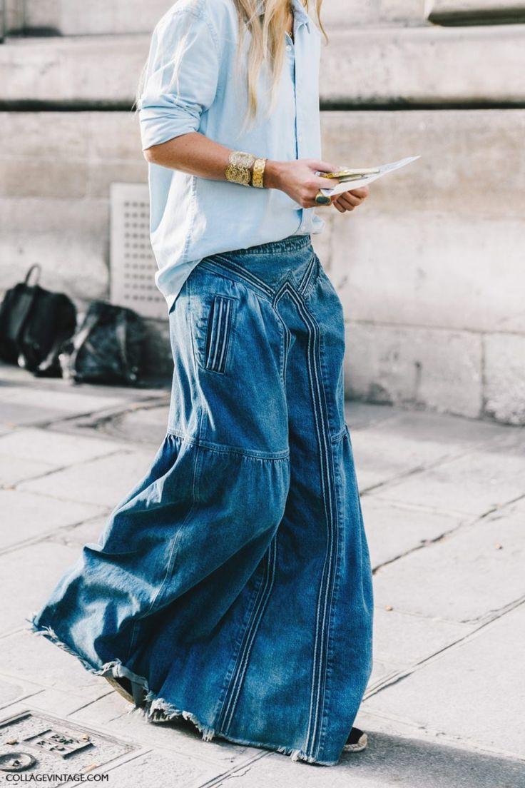 denim maxi skirt, джинсовая юбка в пол