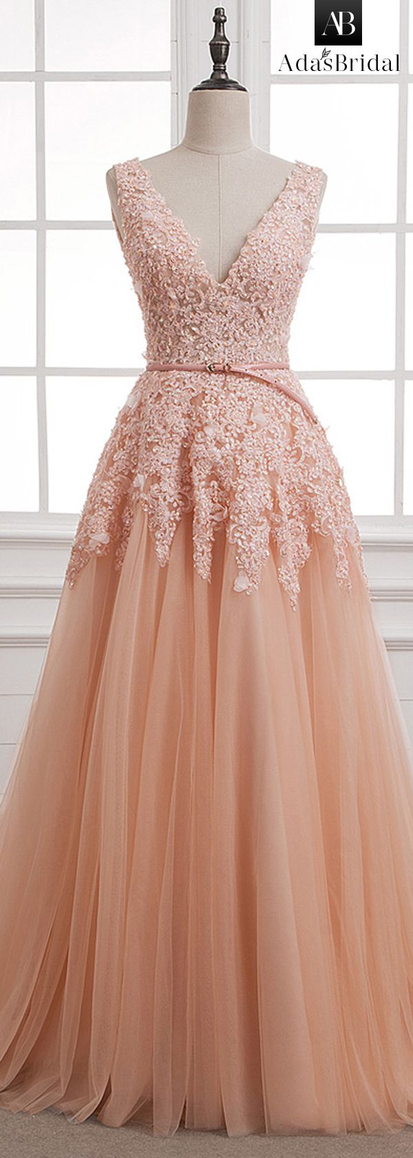 NEW! Stunning Tulle & Lace V-neck Neckline A-Line Evening Dresses With Beaded Lace Appliques & Belt