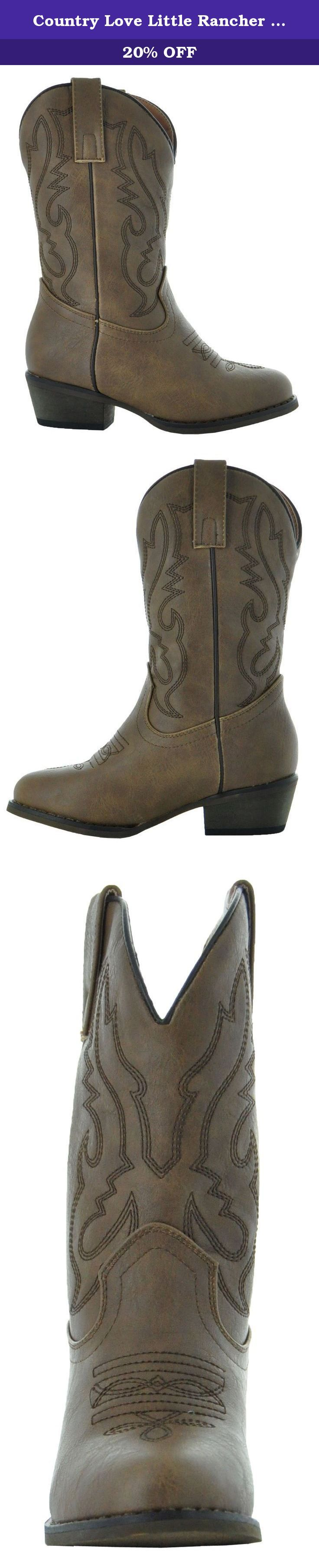 Country Love Little Rancher Kids Cowboy Boots K101-1001 (2, Brown). The perfect boots for your little cowgirl or cowboy in the making. The Country Love cowboy boots for kids offer the same classic western styling found in grown-up versions - but in sizes for your child. Made of durable synthetic leather with western stitching on the foot and shaft, these cowgirl boots for kids deliver total comfort and style. They have an easy 1-1/2 inch heel height, round toe shape, comfortable lining...
