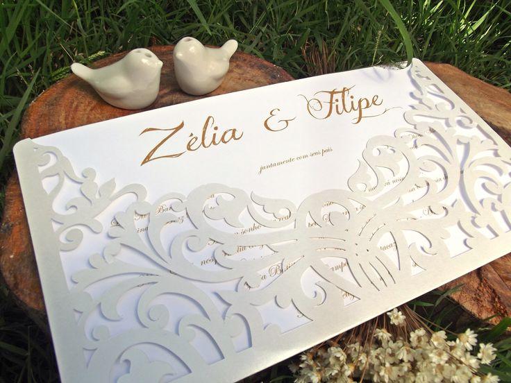Convite Rebuscado Serena http://www.rosamia.com.br/pd-25c361-convite-rebuscado-serena.html  convite de casamento, provençal, arabescos, recortado, vazado, convite, elegante, sofisticado, cortado a laser, wedding invitation, provence, cut