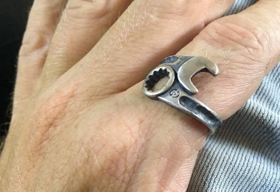 Mechanic Spanner handmade Bangle in Solid Sterling Silver .925
