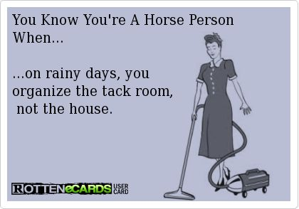 You Know You're A Horse Person When... ...on rainy days, you organize the tack room, not the house.