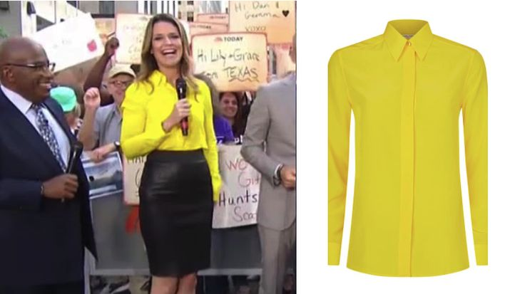 Hello yellow! Get the details on Savannah Guthrie's Neon Yellow Blouse http://www.bigblondehair.com/savannah-guthries-yellow-button-blouse/ Today Show Fashion and Clothing