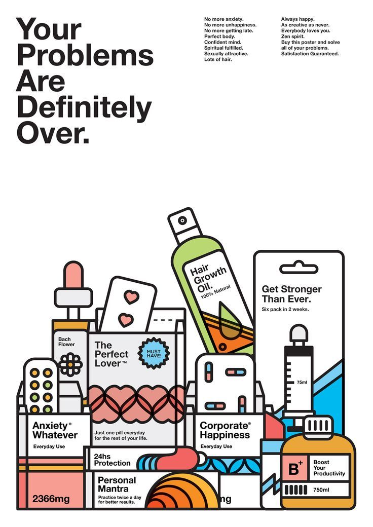 <p>This incredibly clever series of posters is a personal project by Brazilian graphic designer Caio Orio. He chose to focus on beauty products, the self help industry and the irony behind common sense things we hear everyday.   www.behance.net</p>