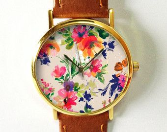 Gift Women, Floral Watch, Vintage Style Leather Watch, Women Watches,Women's Watches, For Her, Boyfriend Watch, Pink Blue Freeforme 2015