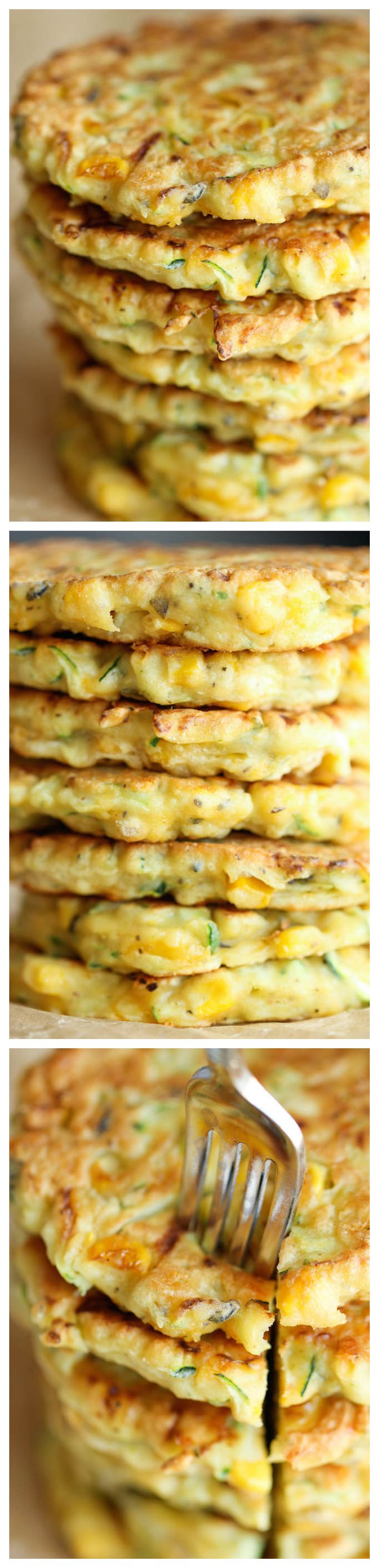 "Zucchini Corn Pancakes - Super easy pancakes perfect as a side dish or appetizer. And best of all, they don't even taste ""healthy""!: Corn Fritters, Side Dishes, Zucchini Corn, Corn Pancakes, Tasting Healthy, Corn Cakes, Super Easy, Pancakes Perfect, Easy Pancakes"