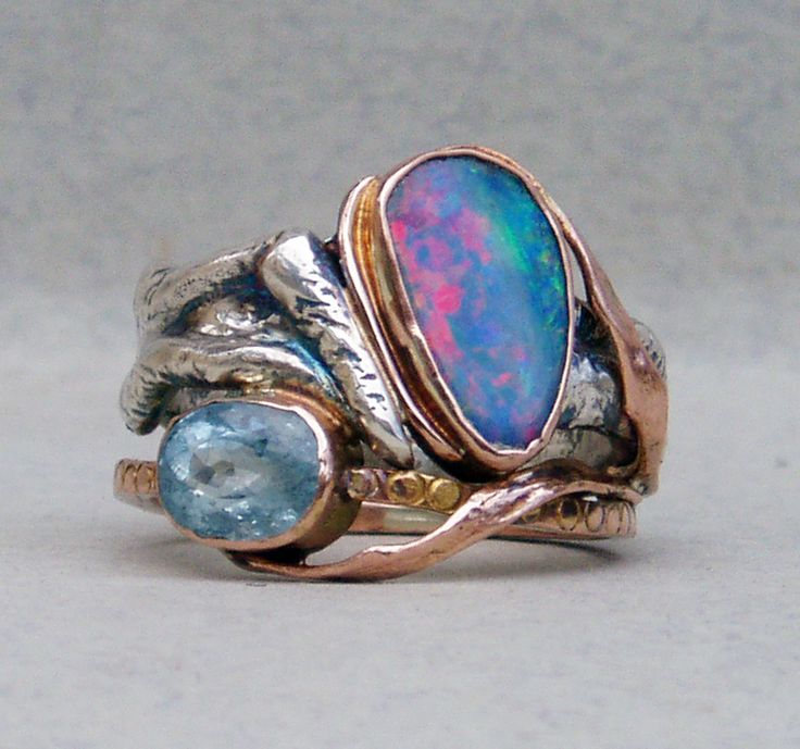 ring-silver,rose gold,opal,aquamarine