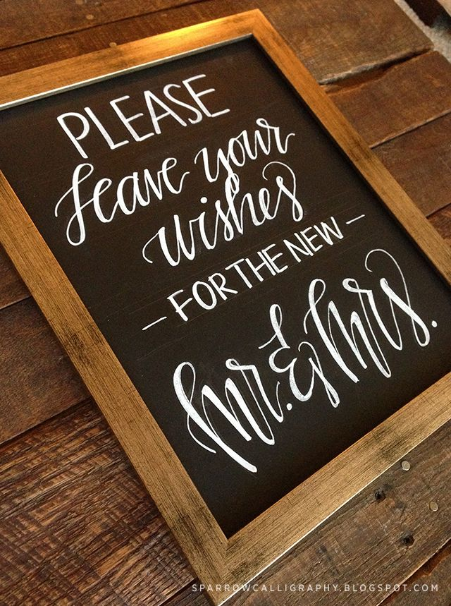mr. and mrs. wedding chalk board | sparrow calligraphy