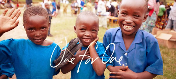 TOMS Shoes, a company that matches every pair of shoes purchased with a pair of new shoes for a child in need. One for One.