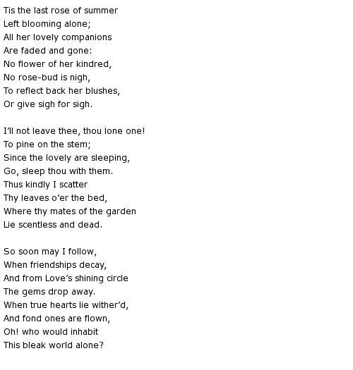 The last rose of summer poem Thomas Moore