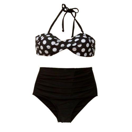 Trajes De Baño Estilo Vintage: retro-de-la-alta-cintura-Push-Up-Bandeau-Traje-De-Bano-Bikini-Traje-De