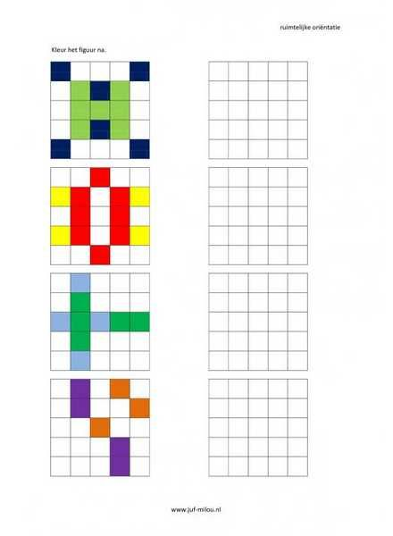leg na met blokjes Dit werkblad en nog veel meer in de categorie ruimtelijke orientatie - nakleuren kun je downloaden op de website van Juf Milou.
