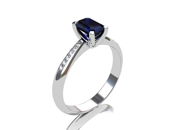 emerald cut Blue sapphire engagement ring made from white gold by TorkkeliJewellery, $2490.00