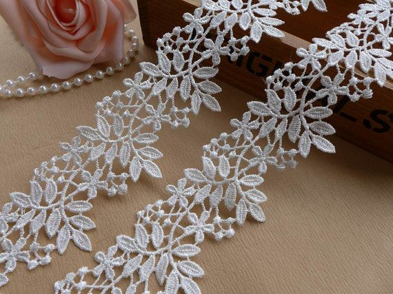 Exquisite Venise Lace Trim Off White Floral Lace Fabric Trim for Bridal, Necklace, Sashes, Veils, Jewelry or Costumes    This listing is for 2 yards.