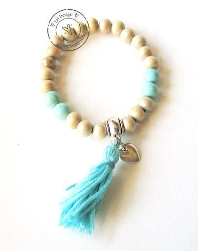 Turquoise ibiza style houten kralen armband met kwastje A493 - Lei Design