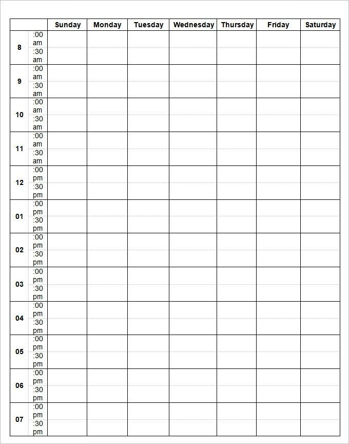 Weekly Calendar Schedule Template #weeklyplanner #calendars