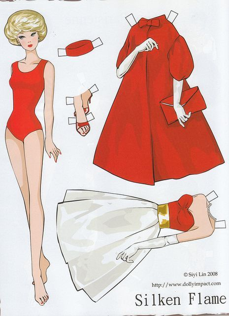 Barbie Silken Flame paper doll by Siyi Lin: