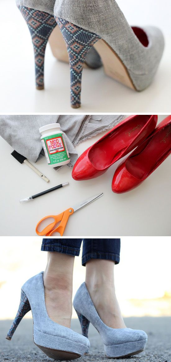 Revamp Your Old High Heels With Fabric   23 Life Hacks Every Girl Should Know   Easy Organization Ideas for Bedrooms