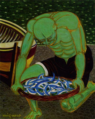 Giuseppe Migneco Pescatore verde, 1975 Olio su tela, cm 50x40