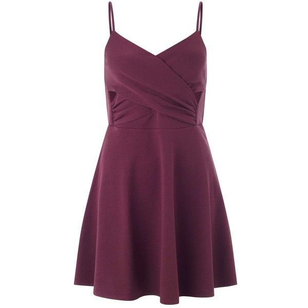Miss Selfridge Petites Burgundy Skater Dress ($21) ❤ liked on Polyvore featuring dresses, burgundy, petite, burgundy wrap dress, sexy purple dresses, petite wrap dress, purple wrap dress and sexy cut out dresses