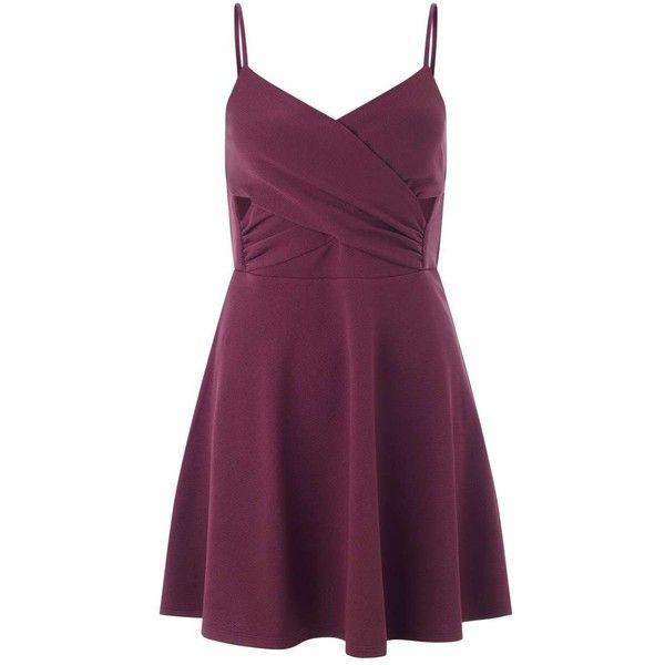 Miss Selfridge Petites Burgundy Skater Dress ($21) ❤ liked on Polyvore featuring dresses, burgundy, petite, burgundy wrap dress, sexy purple dresses, petite wrap dress, purple wrap dress and sexy cut out dresses
