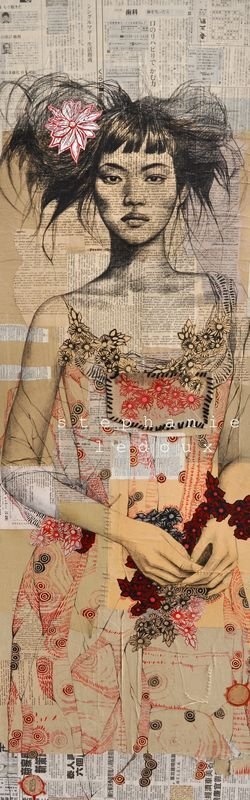 Stephanie LedouxArt Illustrations, French Artists, Mixedmedia, Stephanie Ledoux, Book Pages, Mixed Media, Collage, Canvas, Stéphanie Ledoux