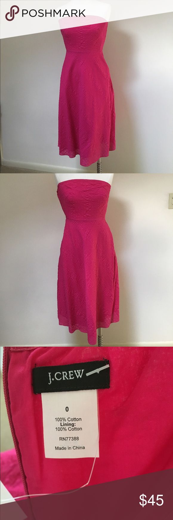 J.Crew Dress Brand new with tags. Classic, strapless, cotton a-line dress in a stunning magenta. Perfect for Easter, weddings, graduation. Dress up or down. J. Crew Dresses Strapless