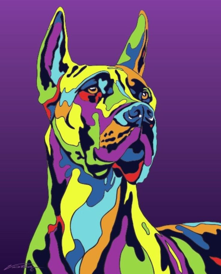 Multi-Color Great Dane Dog Breed Matted Prints & Canvas Giclées
