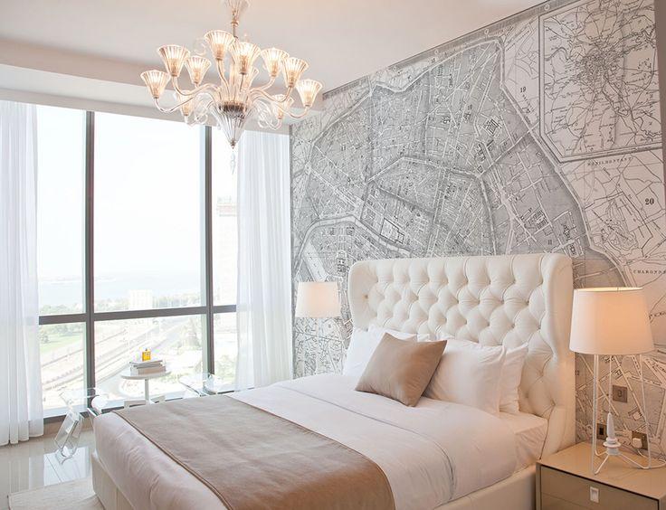 Paris Map // Custom Wallpaper // neutral tones // bedroom // dreamy // tufted headboard