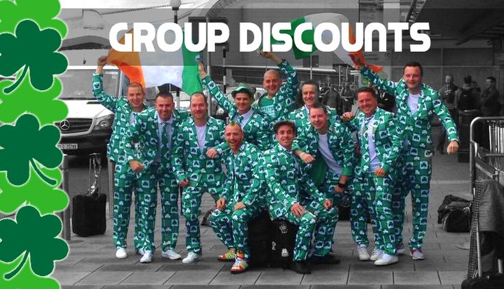 Group Discounts for Awesome St. Patrick's Day Shamrock Suits at fruitysuits.com