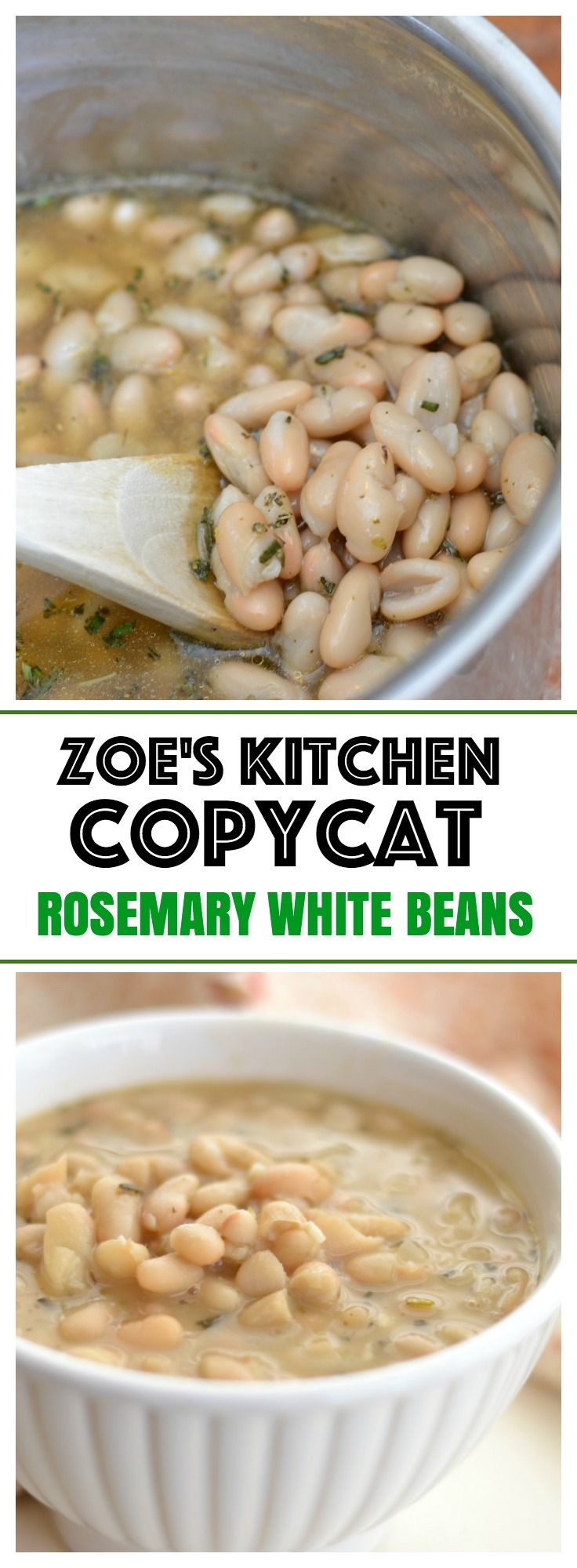 Rosemary White Beans copycat recipe from Zoe's Kitchen | easy vegan side dish with tons of flavor