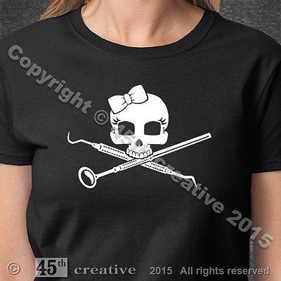 Girl's Hygienist Crossbones T-shirt - womans dental hygienist girl skull t shirt