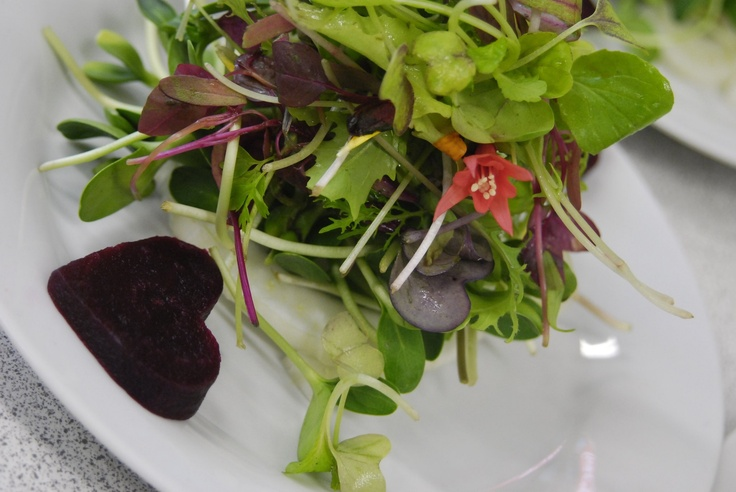 Salad decorated with a heart shaped beet - Fuchsia Epicerie Fleur