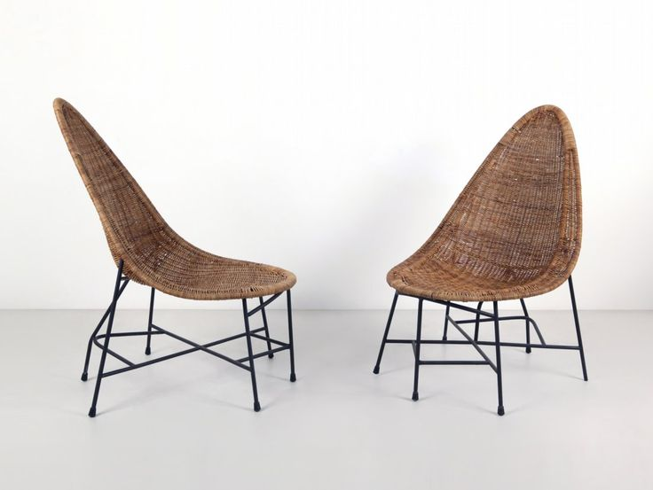 Enameled Metal and Cane Chairs, ca. 1955  chair . Stuhl . chaise  Design: Ico and Luisa Parisi  Studio La Ruota  