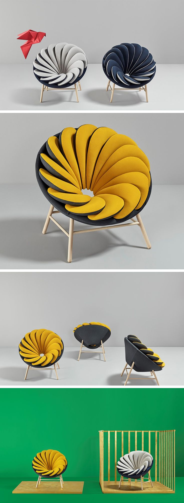 The Quetzal chair designed by Marc Venot for Missana comes in a flowery design with multiple pillows that fan outwards, resembling its inspiration, the Quetzal bird's plumage. What's interesting is the ability to flip over the pillows to change the color of the chair entirely, making it a chair that transcends traditional static furniture and the kind that can adapt to any interior setting.