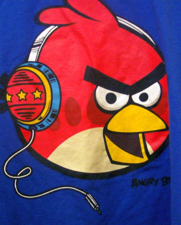 ANGRY BIRDS Tee Shirt Kids Girls Boys Blue Video Game T-Shirt Medium Cotton  #AngryBirds #Everyday