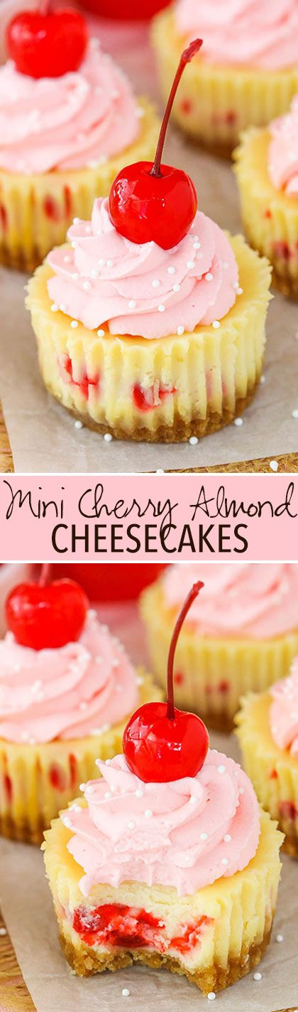 These Mini Cherry Almond Cheesecakes are made with an almond filling studded with maraschino cherries and topped with cherry flavored whipped cream! It's a flavor combination that I love and is so refreshing! So we are officially on baby watch. We've got two appointments a week until they arrive and last week everything looked good …