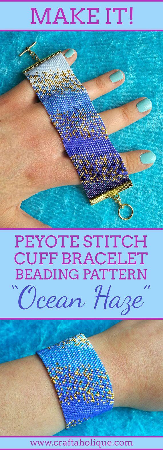 Beaded Bracelet Pattern Ocean Haze Flat Even