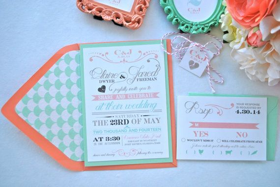 Rustic modern chic Mint and Coral Wedding by OuttheBoxCreative, $2.65