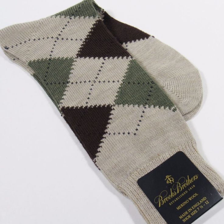 BROOKS BROTHERS Men's Argyle Dress Socks Merino Wool Made in England TAUPE NWT #BrooksBrothers #Dress