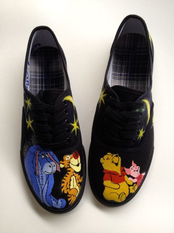 Size 8 IN STOCK Hand Painted Winnie the Pooh Piglet Tigger Eeyore & Disney Inspired Galaxy Night Sky Shoes Womens Canvas Custom Keds Vans on Etsy, $139.00