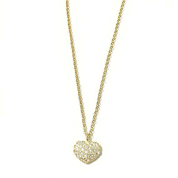 Diamond Heart Necklace Sterling Silver 925 CZ Pave Heart in 18k Gold Plating #SterlingHeartNecklace #AnniversaryGift #BirthdayGift #Mother'sDayGift