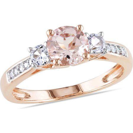 Tangelo 1-1/7 Carat T.G.W. Morganite, Created White Sapphire and Diamond-Accent 10kt Rose Gold Three Stone Ring - Walmart.com