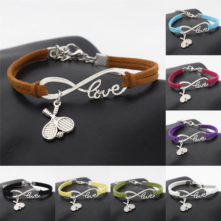 New Casual Punk Antique Silver Double Cross Tennis Racket Ball Charm Infinity Love Leather Bracelet Gift for Tennis Sports Lover