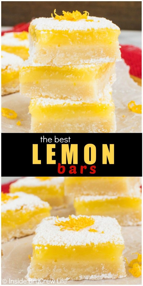 Adding a sweet shortbread cookie crust makes these the best Lemon Bars. Great dessert recipe for spring or Easter parties.